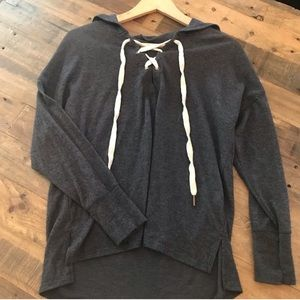 Lace-Up Hoodie Pullover